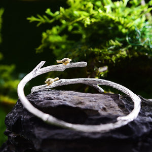 Handmade Bird on Branch Adjustable Bangle - 925 Sterling Silver