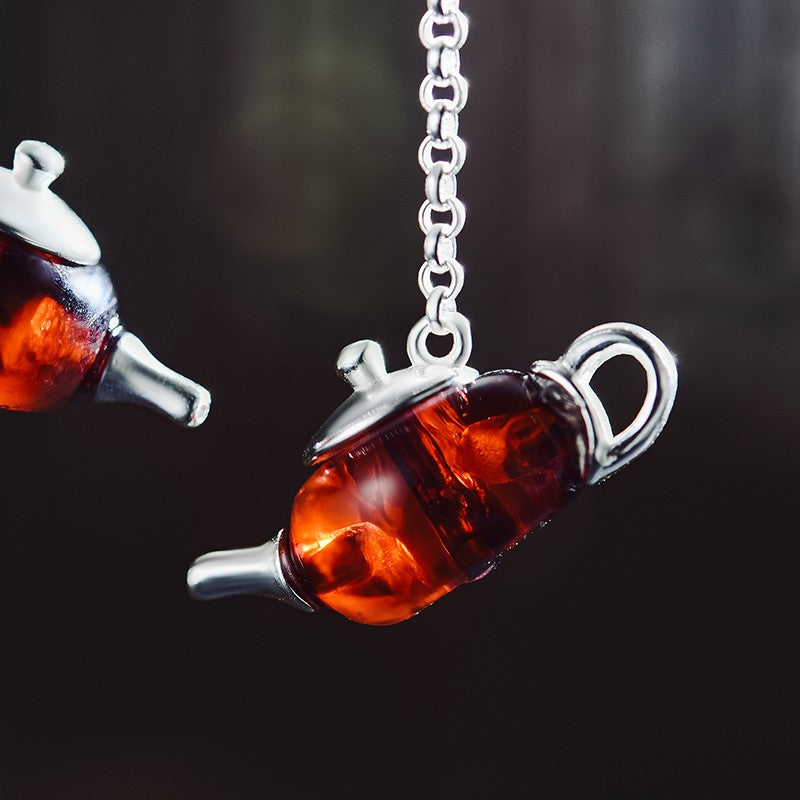 Handmade Amber 'Teapot' Sterling Silver Earrings - Handmade Jewellery Online