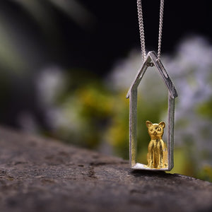 Handmade 'Cute Gazing Cat' Pendant - Sterling Silver 925