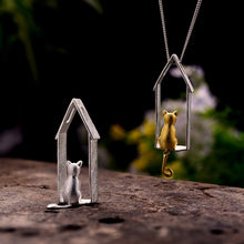Load image into Gallery viewer, Handmade 'Cute Gazing Cat' Pendant - Sterling Silver 925