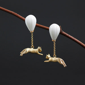 Handmade 'A Cat and a Hot Air Balloon' Drop Earrings for Girls - Gold and Sterling Silver 925