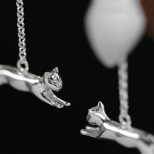 Load image into Gallery viewer, Handmade 'A Cat and a Hot Air Balloon' Drop Earrings for Girls - Gold and Sterling Silver 925