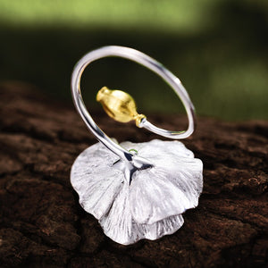 Handmade 'Blooming Poppies' Silver Ring - Sterling Silver 925