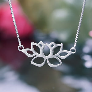 Handmade Vintage Lotus Necklace - Sterling Silver 925