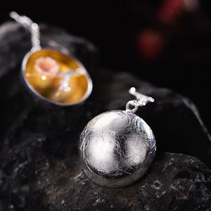 Handmade 'Aroma of Wintersweet' Silver Earrings - Sterling Silver 925