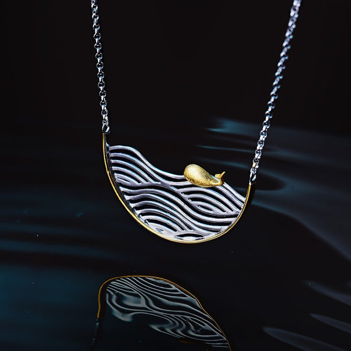 Handmade 'Swimming Fish' Pendant Necklace - Sterling Silver 925