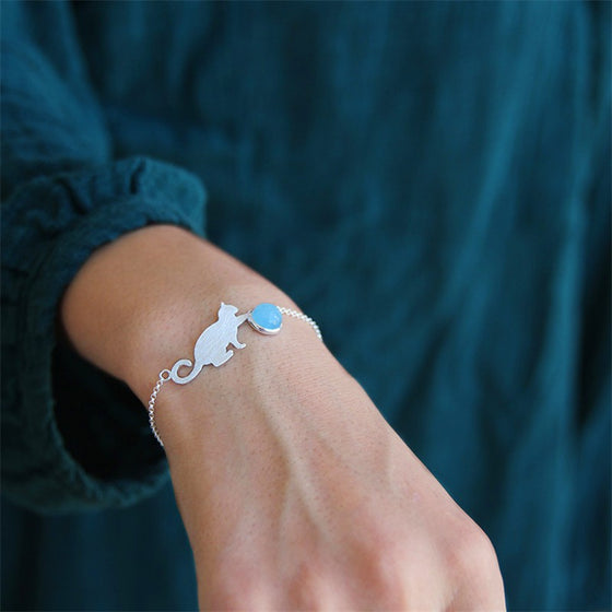 Handmade Aquamarine 'Playing Cat' Silver Bracelet - Sterling Silver 925