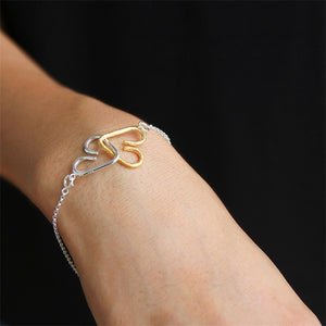 Handmade Romantic 'Sweet Heart to Heart' Bracelet - Sterling Silver 925