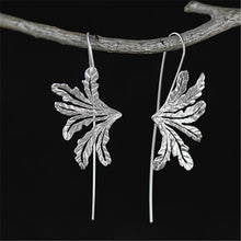 Load image into Gallery viewer, Handmade 'Leaves' Drop Earrings for Girls - Gold and Sterling Silver 925