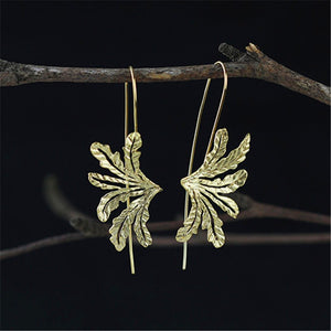 Handmade 'Leaves' Drop Earrings for Girls - Gold and Sterling Silver 925