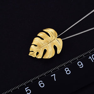 Handmade Monstera Leaves Pendant - Gold and Sterling Silver 925
