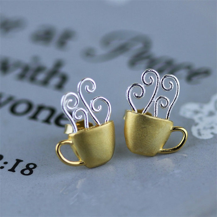 Handmade 'Hot Coffee Cup' Stud Earrings - Gold and Sterling Silver 925