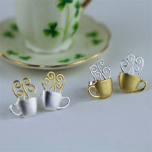Load image into Gallery viewer, Handmade 'Hot Coffee Cup' Stud Earrings - Gold and Sterling Silver 925