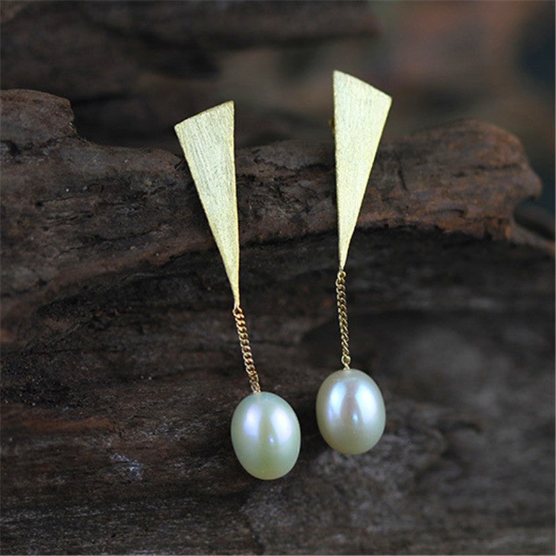 Handmade Drop Earrings with Natural Pearls - Gold and Sterling Silver 925