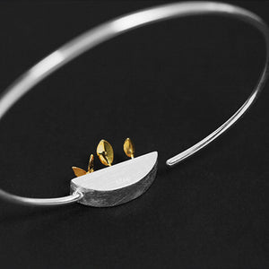 Handmade 'My Little Garden' Bangle - Sterling Silver 925