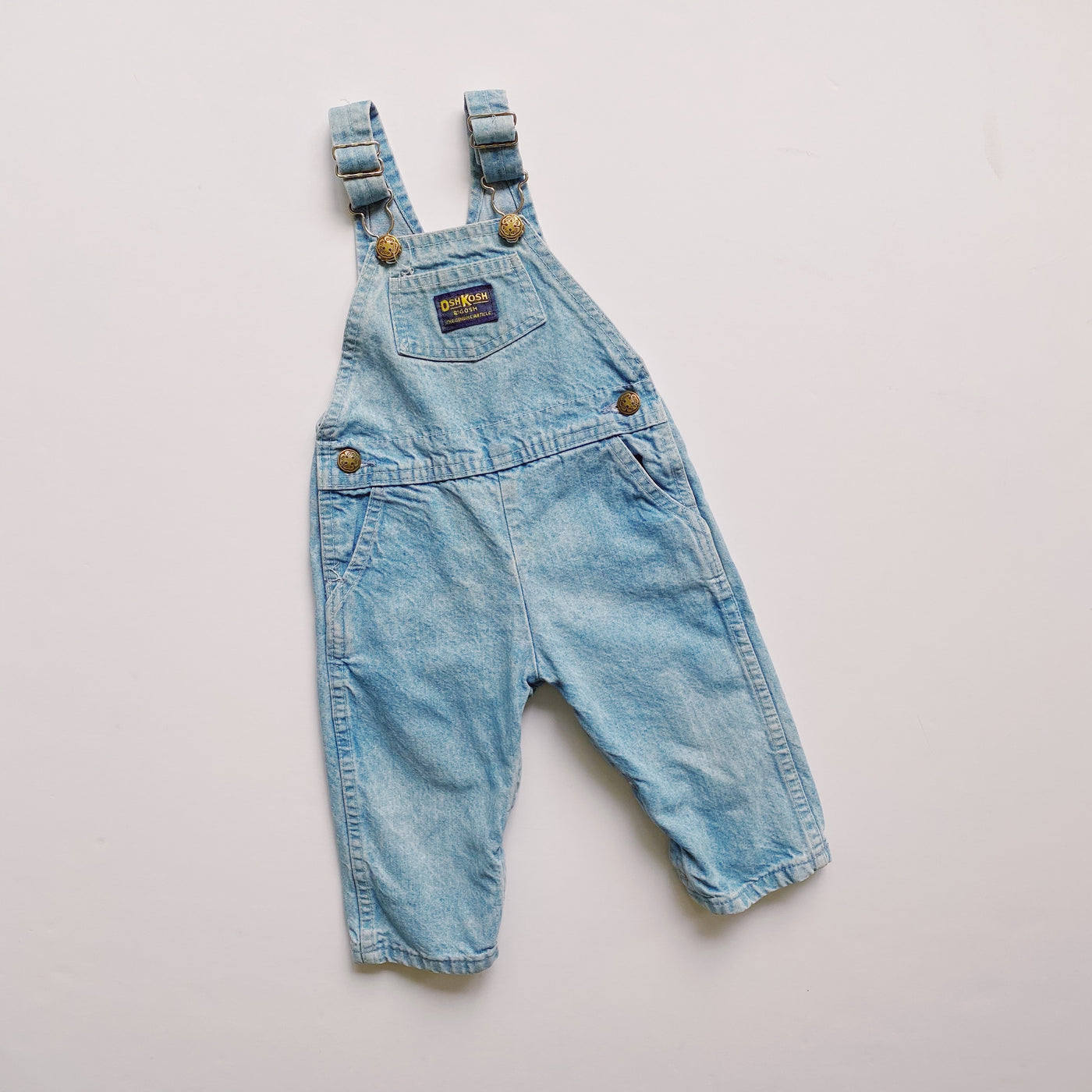 Vintage OshKosh Lightwash Denim Overalls / Size 2T
