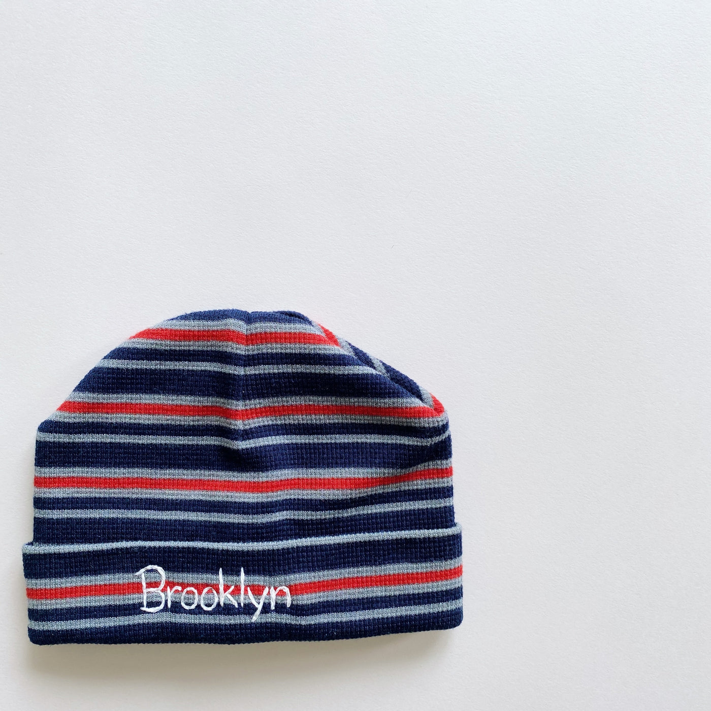 """Brooklyn"" Embroidered Beanie / Size 6-12M"