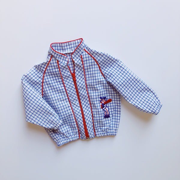 Vintage Lightweight Checkered Baseball Jacket / Size 9-12M