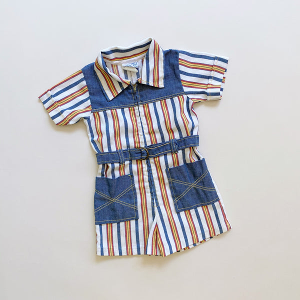 Vintage 70's Striped Summer Coverall / Size 2T