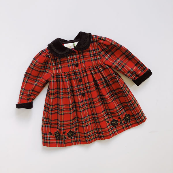Vintage Little Bitty Plaid Overcoat / Size 18M