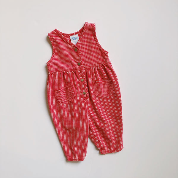 Baby B'gosh Checked Dark Pink Denim Romper / Size 6-9M