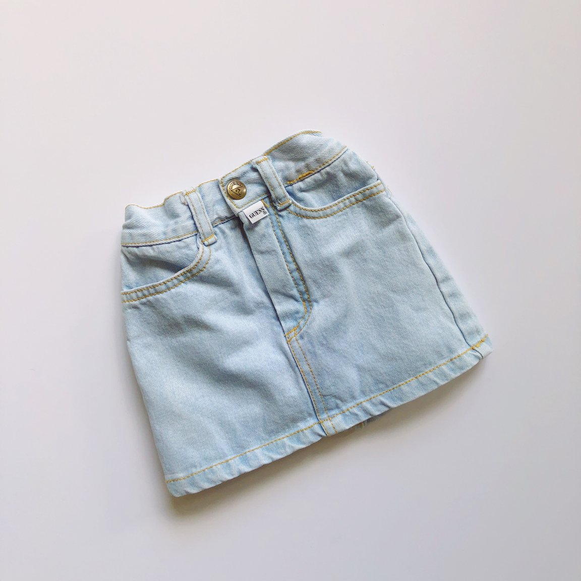 Vintage Denim Mini Skirt Styled 2-Ways / Size 6-9M