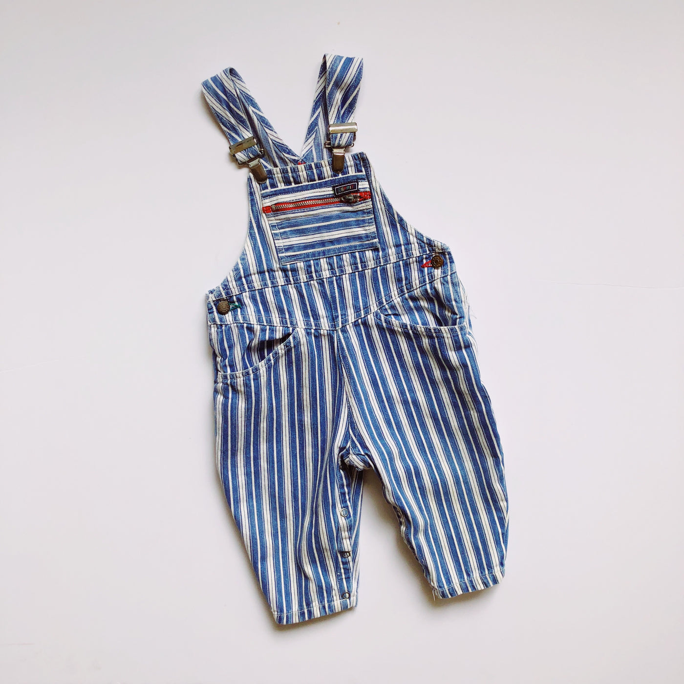 Vintage Esprit Striped Denim Overalls / Size 2T
