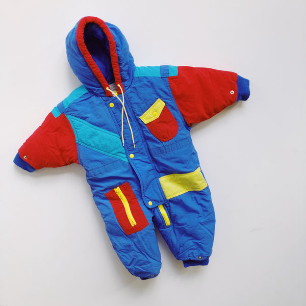 Vintage Casual Time Color Block Snowsuit / Size 12M