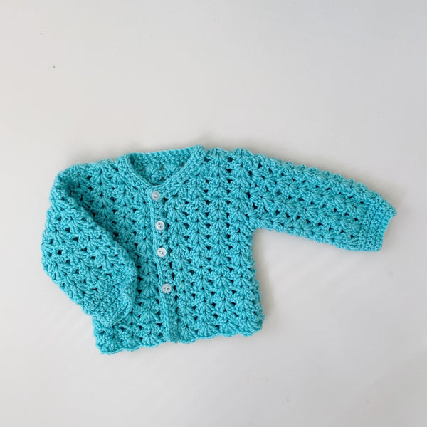 Handmade Teal Knit Cardigan Sweater / Size 9M
