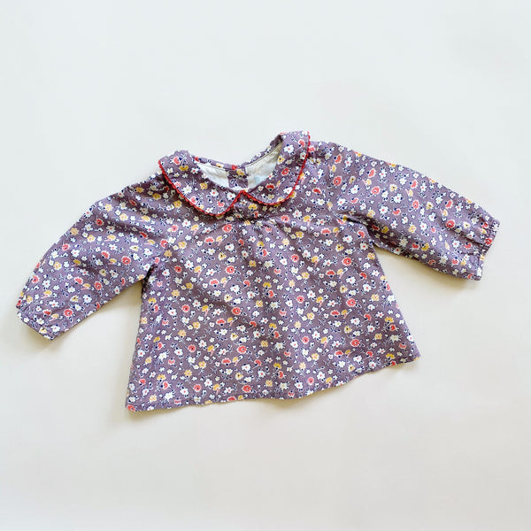 Baby Boden Floral Collared Top / Size 3-6M