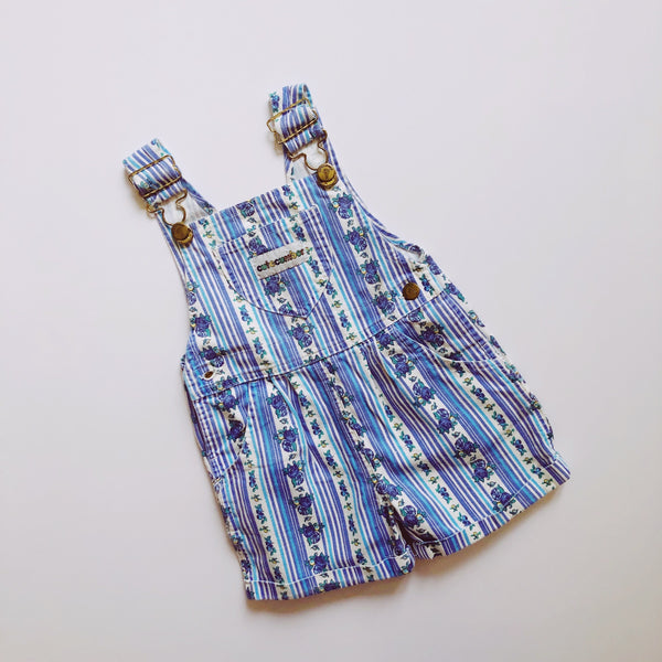 Aqua Blue and Indigo Patterned Shortalls by Cutecumber / Size 3T