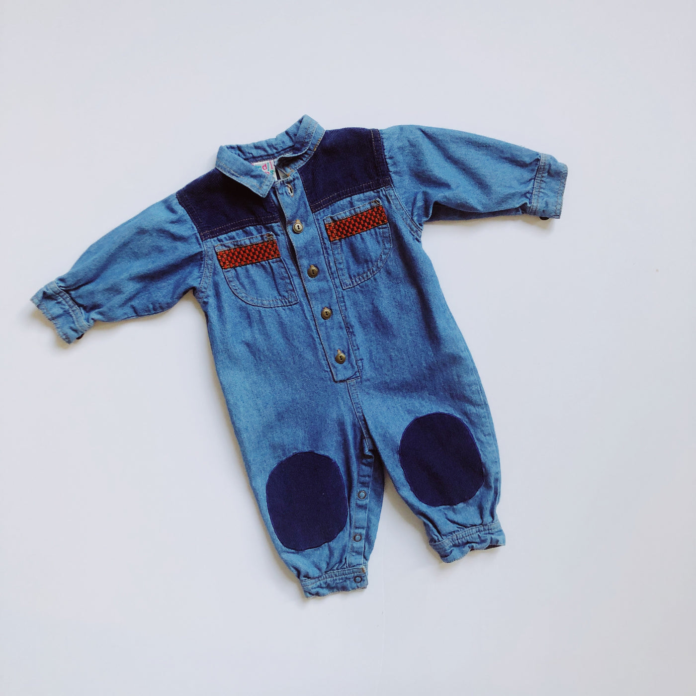 Vintage Small Steps Denim and Corduroy Coverall / Size 12M