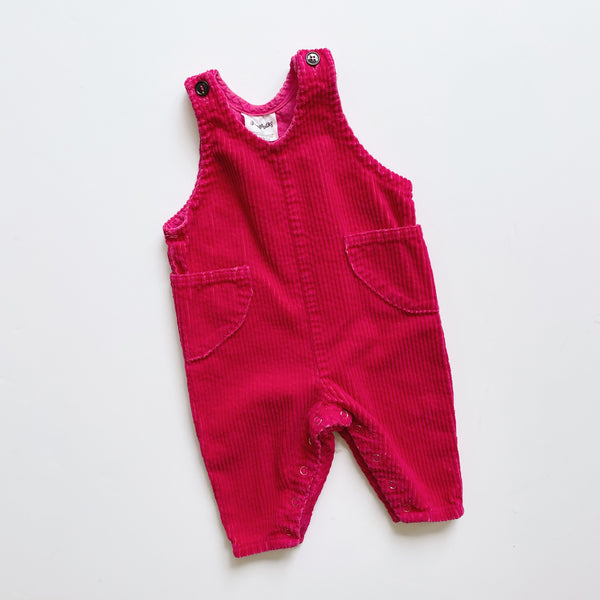 Flapdoodles Dark Pink Corduroy Overalls / Size 6M