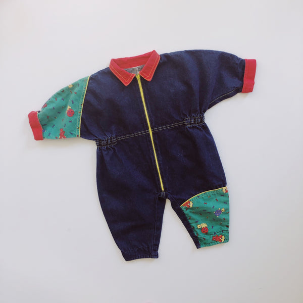 Vintage Zip-Up Denim Coverall Romper / Size 12-18M