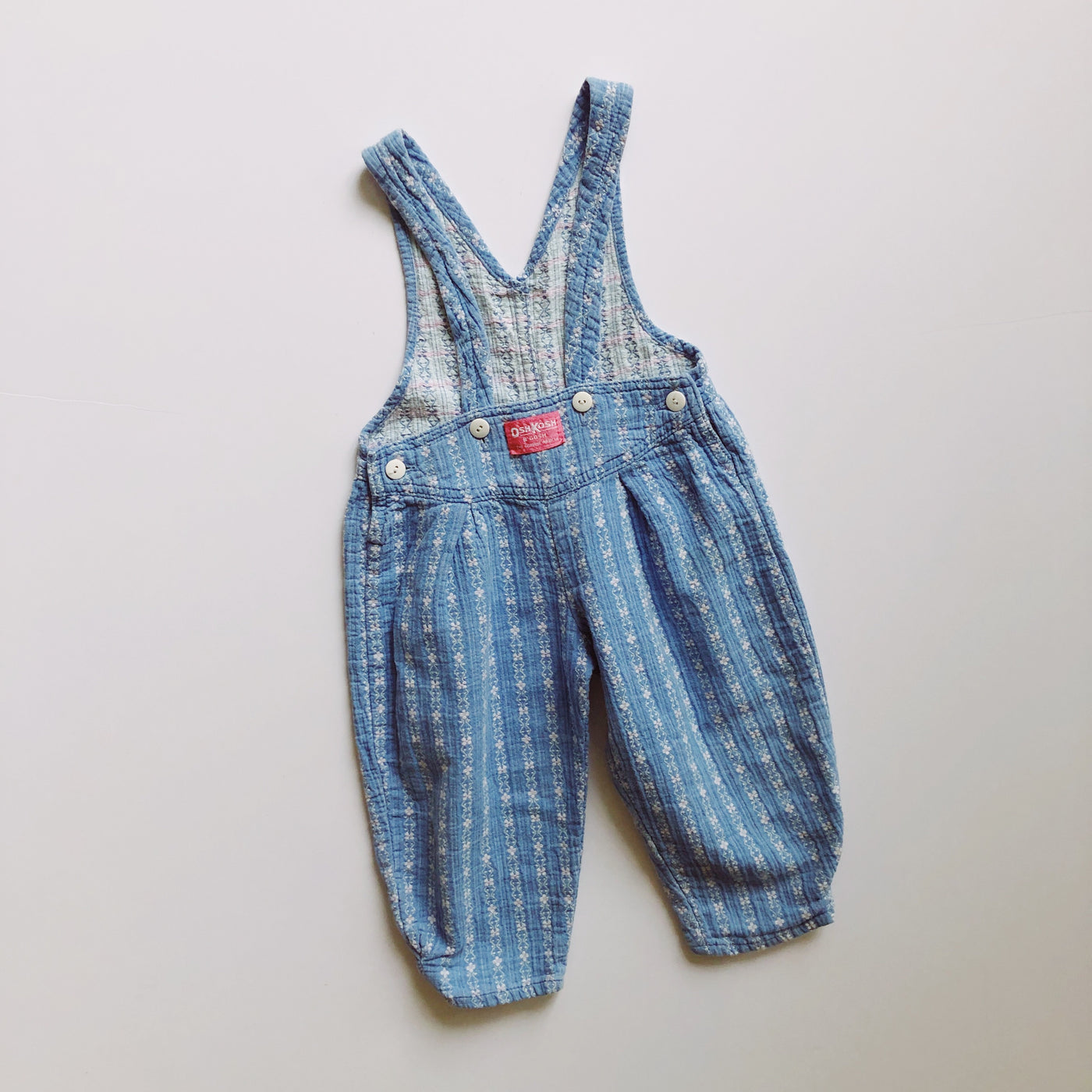 Vintage OshKosh Suspender Style Embroidered Floral Overalls / 2T