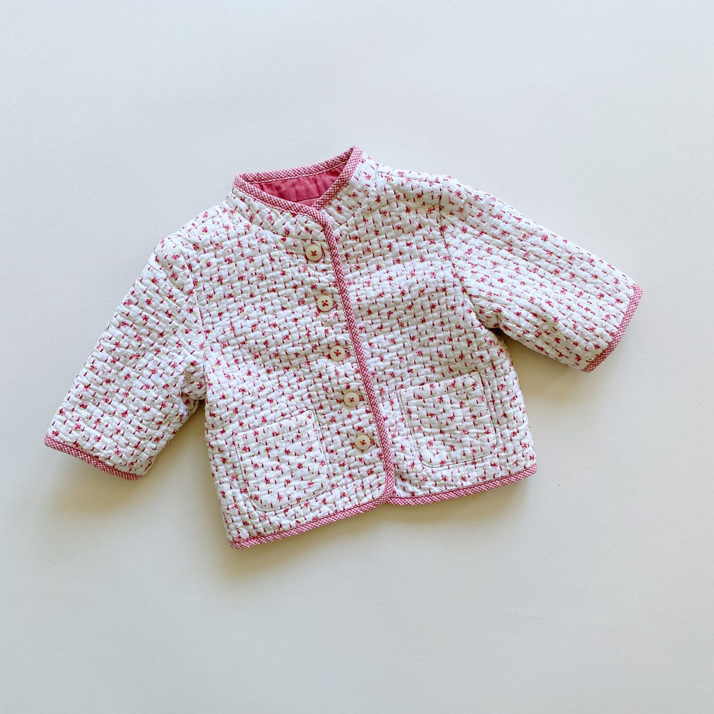 Janie and Jack White and Pink Reversible Jacket / Size 3-6M