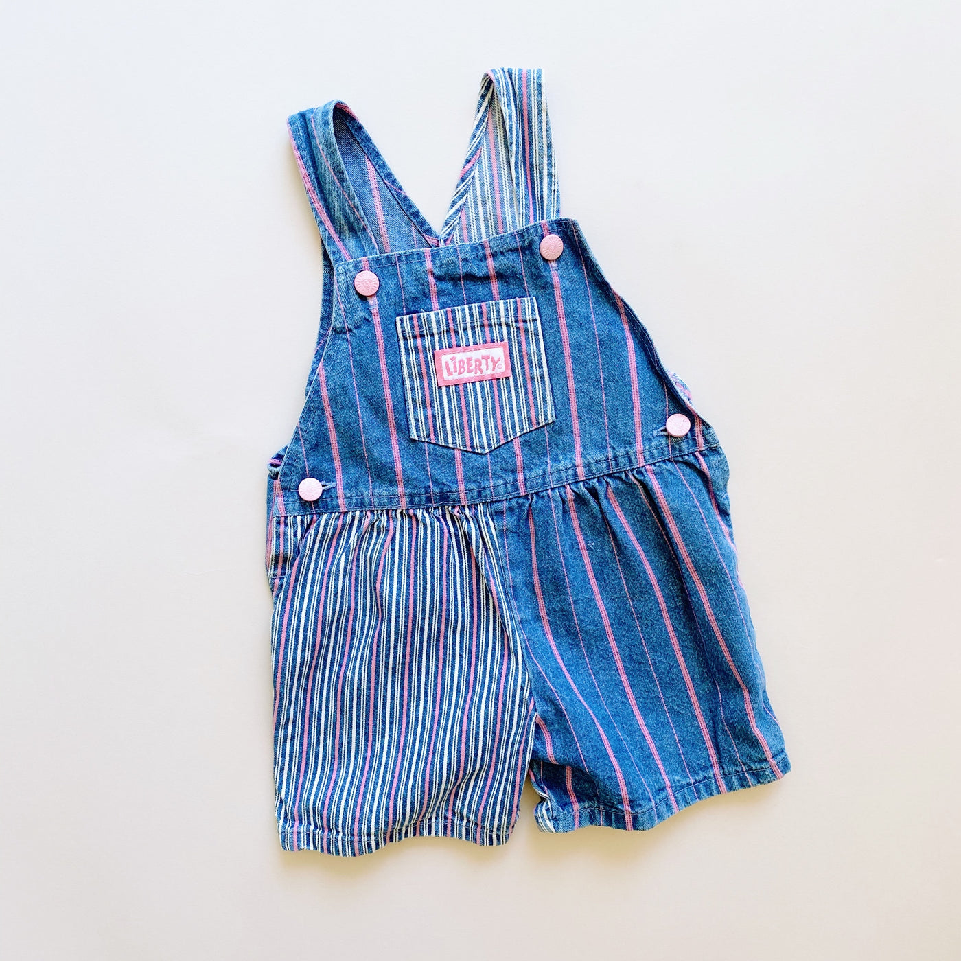 Cotton Candy Striped Shortalls / Size 3T