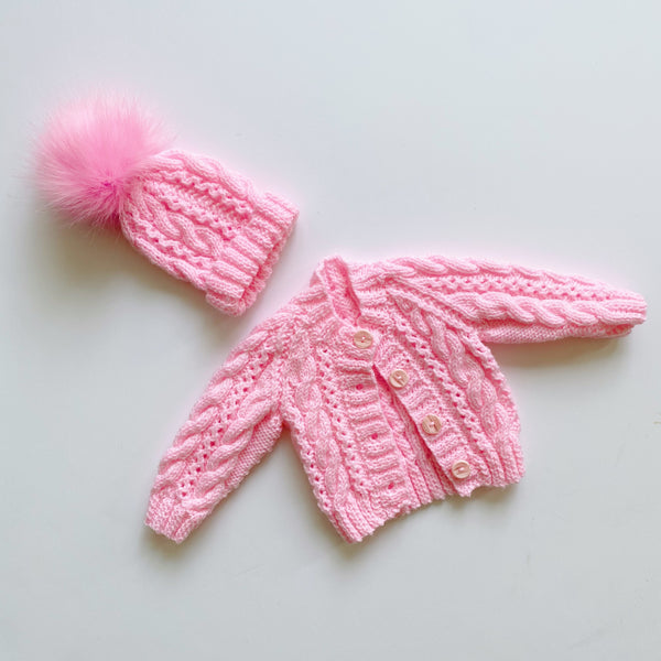 Handmade Bright Pink Sweater Set / Size NB