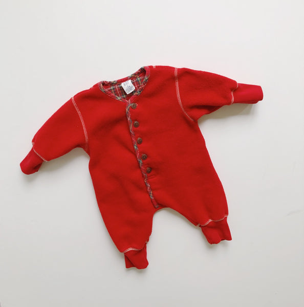 Baby Gap Red Fleece Holiday Romper / Size 3-6M