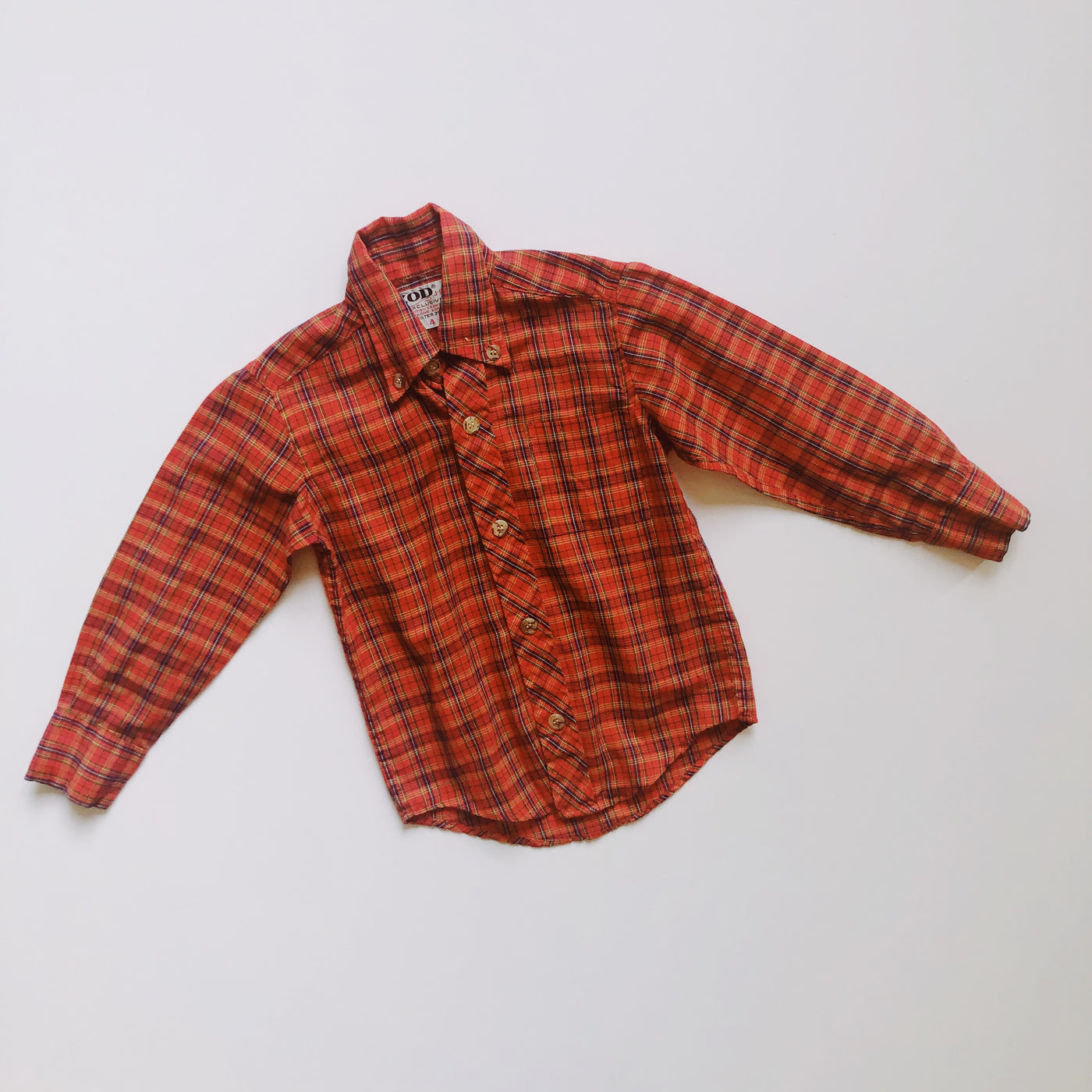 Vintage Izod Red Plaid Button Down / Size 4T