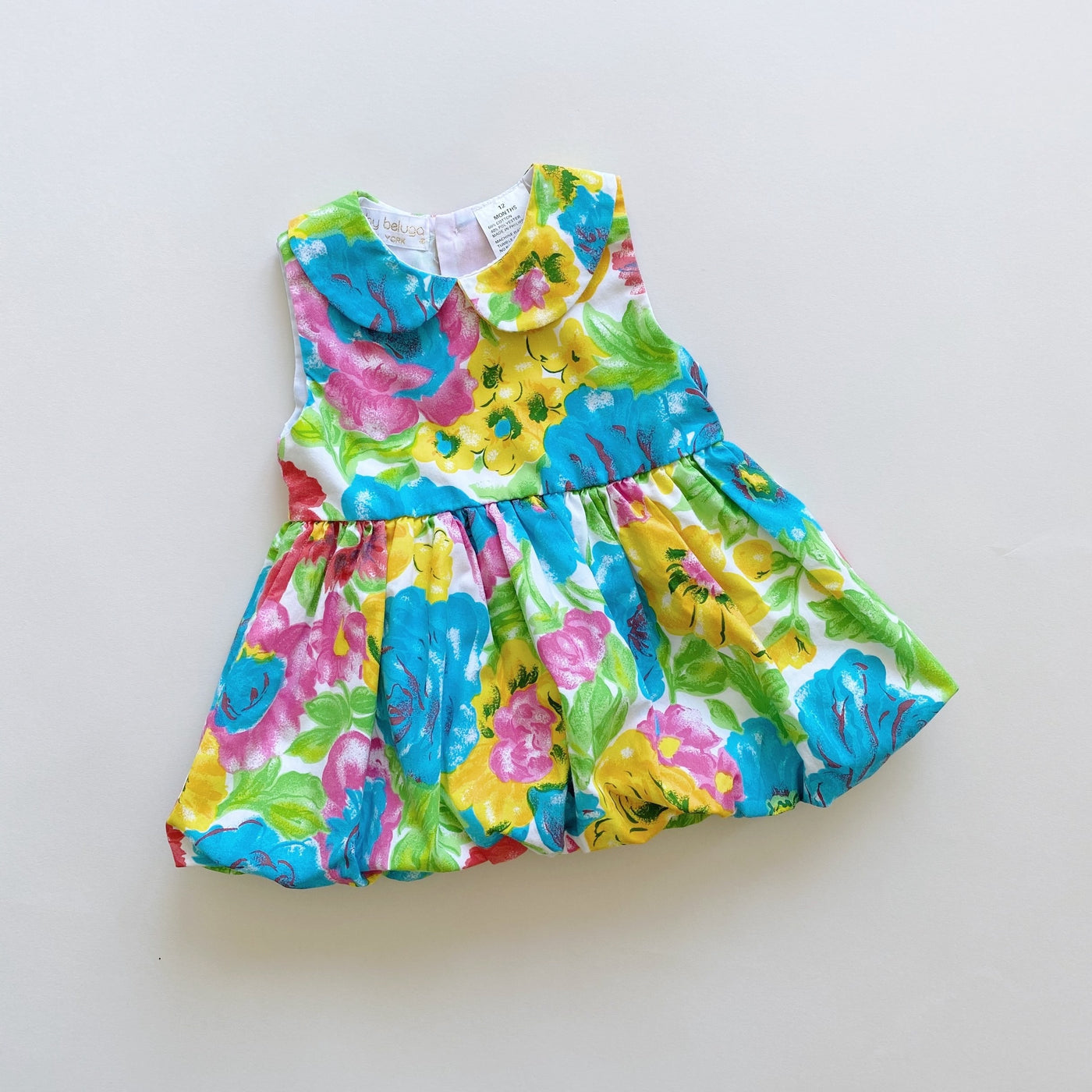 Vintage Baby Beluga Bright Floral Bubble Dress / Size 12M
