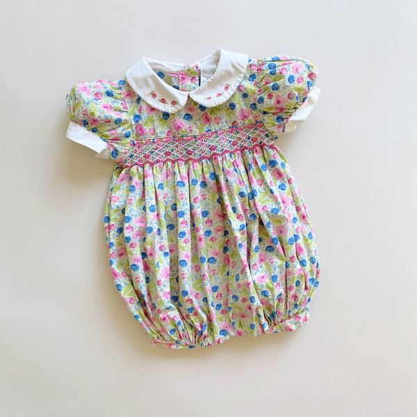 Smocked Bubble Romper / Size 9M