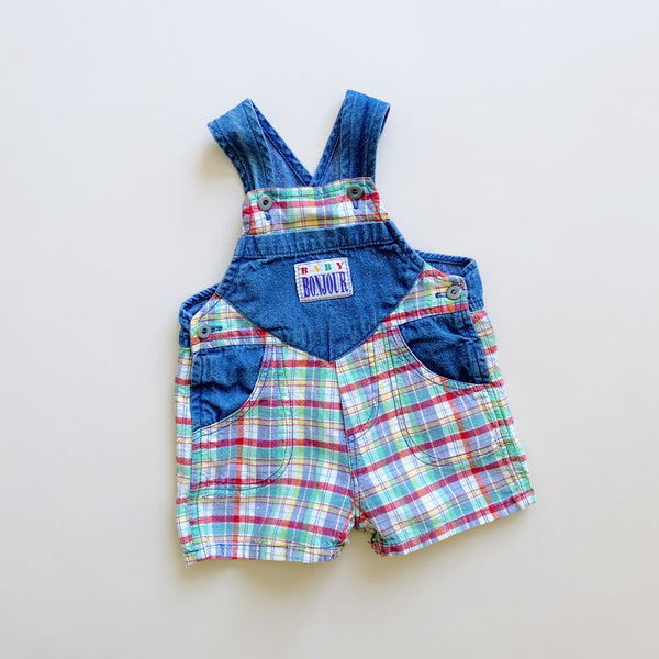 Vintage Denim Plaid Shortalls / Size 6M