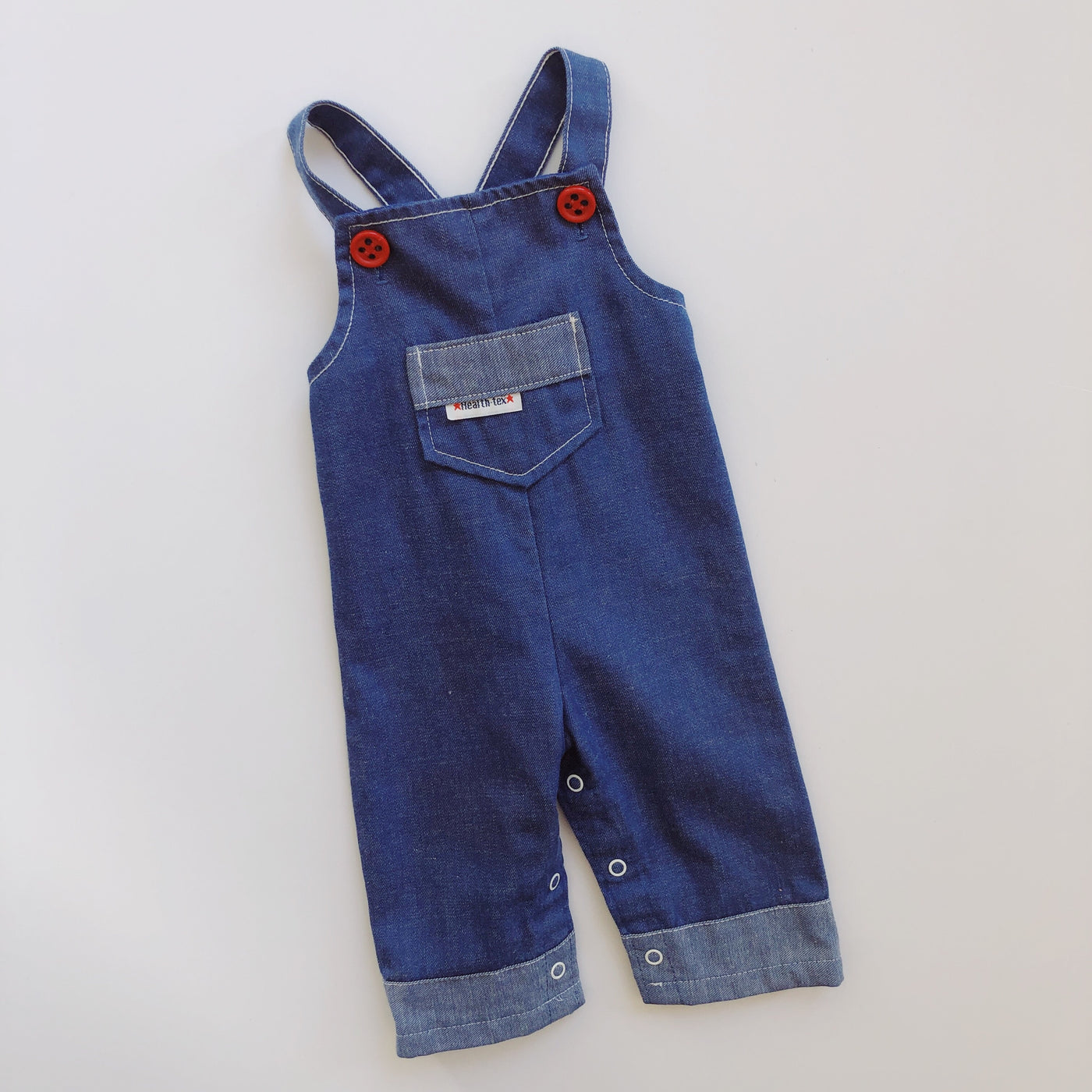 Vintage Health-Tex Denim Overalls with Red Buttons / Size 6-12M