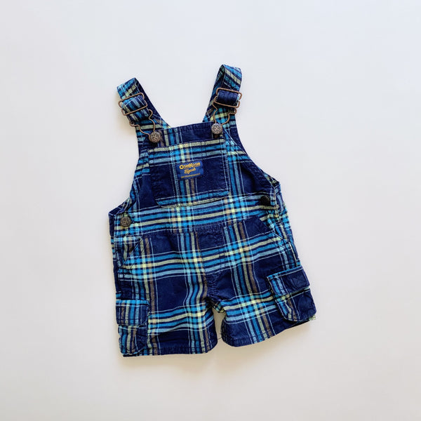 OshKosh Navy Plaid Shortalls / Size 3M