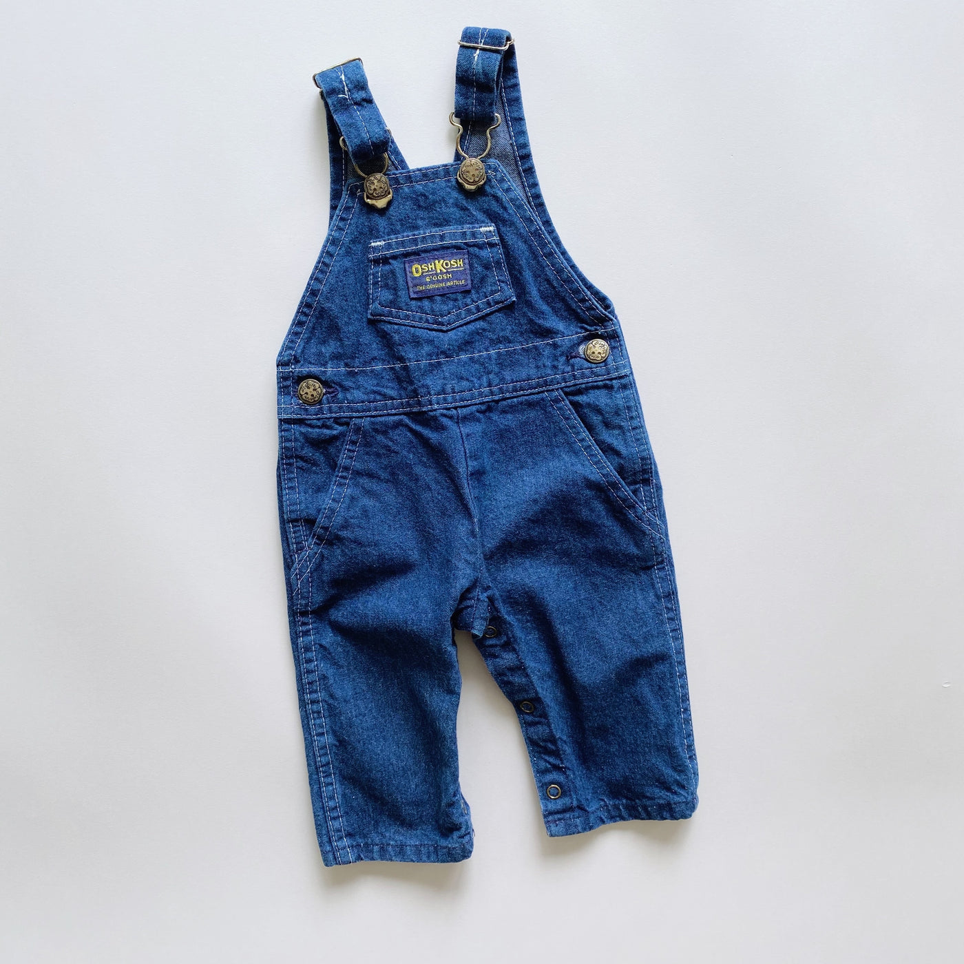 Vintage OshKosh Dark Denim Overalls / Size 3-6M