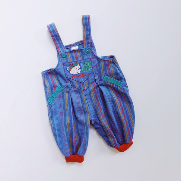 Vintage Bear Essentials Blue Striped Overalls / Size 3-6M