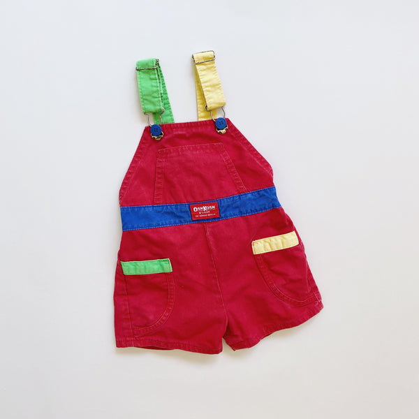 Vintage OshKosh Colorblock Shortalls / Size 24M