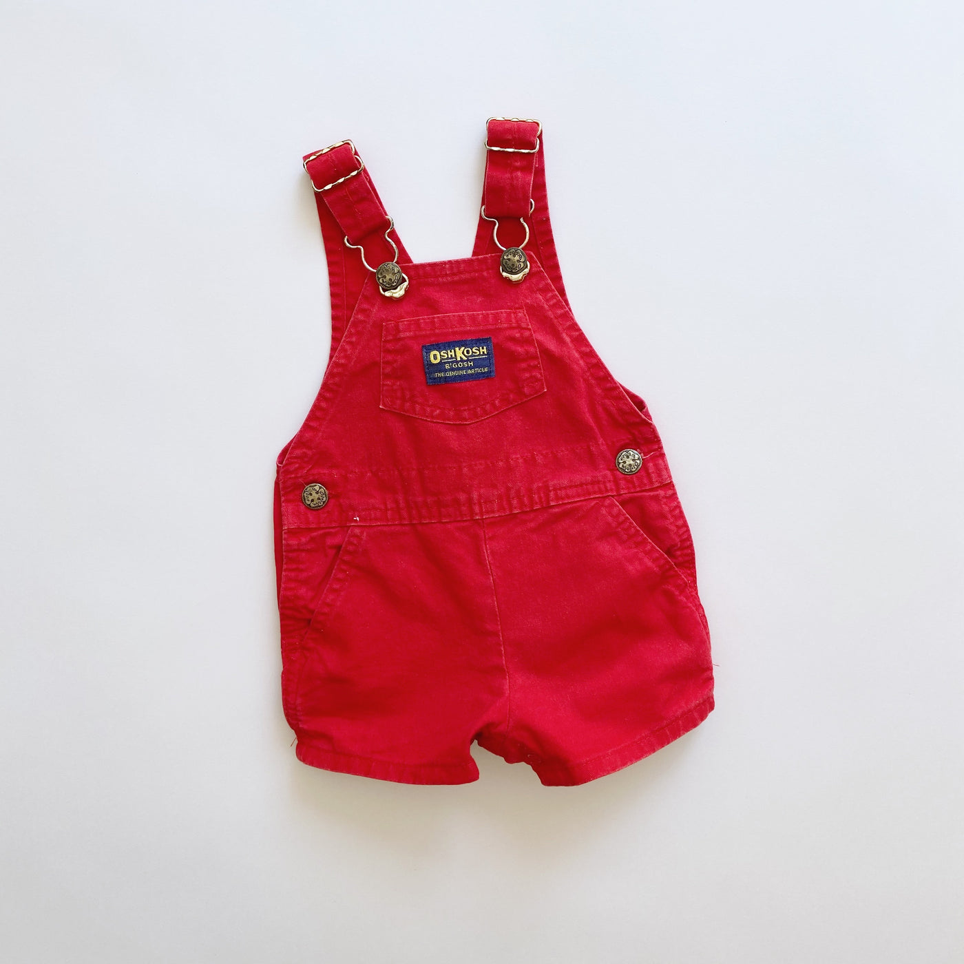 Vintage OshKosh Red Shortalls / Size 6-9M