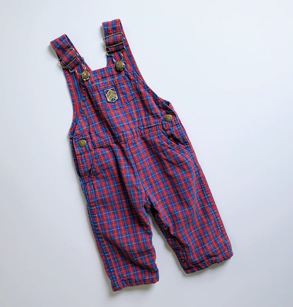 Vintage Red & Blue Plaid OshKosh Overalls / Size 18M